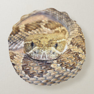 rattlesnake face round cushion