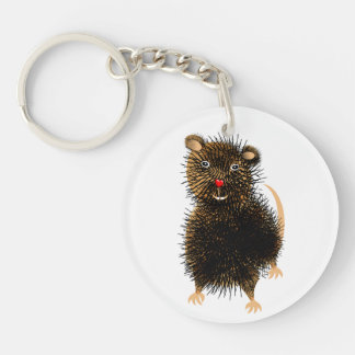 Ratty The Cute Funny Whimsical Pet Rat Key Ring