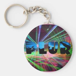 Rave Flash PLUR Basic Round Button Key Ring