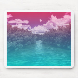 Rave Lovers Key Trippy Pink Blue Ocean Mouse Pad