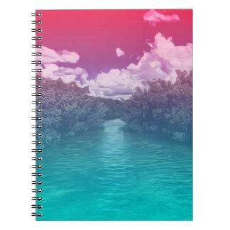 Rave Lovers Key Trippy Pink Blue Ocean Spiral Notebook