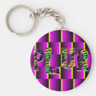 Rave Paint Splash PLUR Basic Round Button Key Ring