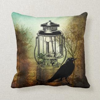 Raven And Camping Lantern Throw Pillow