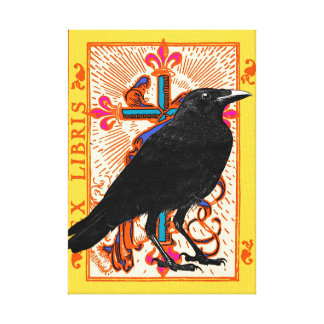 Raven and Cross canvas art Stretched Canvas Print