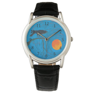 Raven and Full Moon Wrist Watch