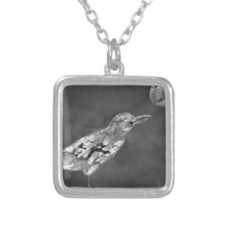 Raven and Moon Silver Plated Necklace