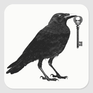 Raven And Skeleton Key Halloween Stickers