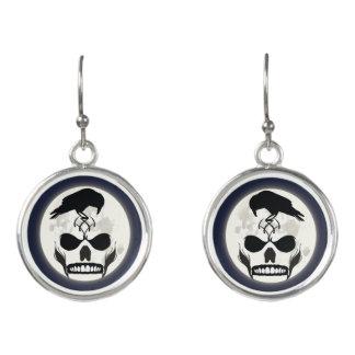 Raven and Skull Earrings - Moon Raven Jewelry