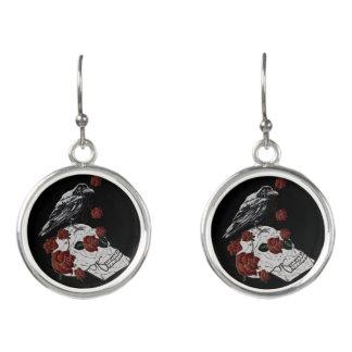 Raven and Skull Earrings - Raven & Red Roses
