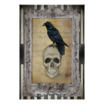 Raven and Skull halloween Poster