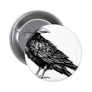 Raven 6 Cm Round Badge