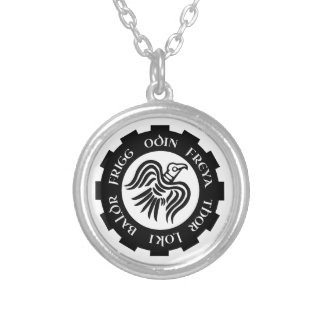 raven banner silver plated necklace