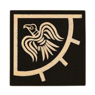 Raven Banner Viking Flag Wood Coaster