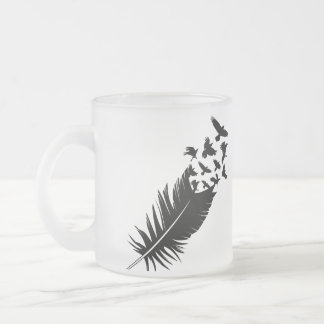 Raven, Black Feather Frosted Glass Coffee Mug