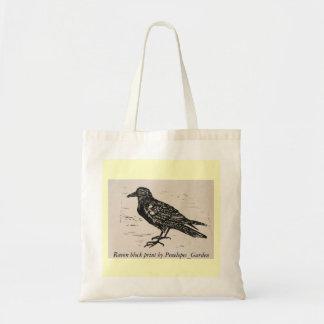Raven block print by Penelopes_Garden Budget Tote Bag