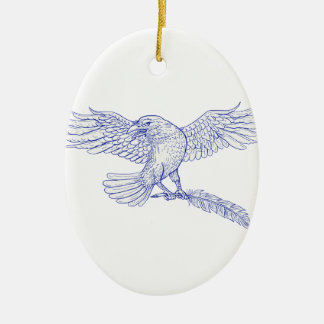 Raven Carrying Quill Drawing Ceramic Ornament