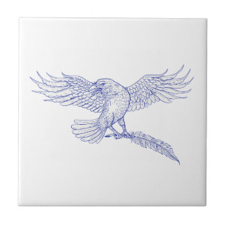 Raven Carrying Quill Drawing Ceramic Tile