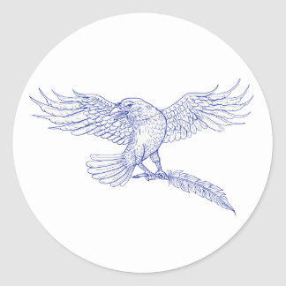 Raven Carrying Quill Drawing Classic Round Sticker