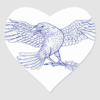 Raven Carrying Quill Drawing Heart Sticker