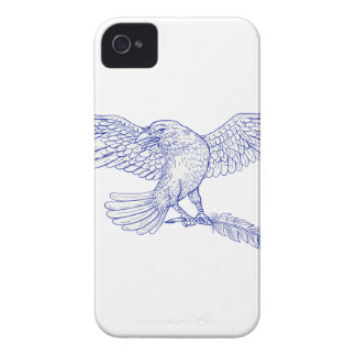 Raven Carrying Quill Drawing iPhone 4 Cover
