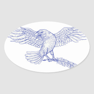 Raven Carrying Quill Drawing Oval Sticker