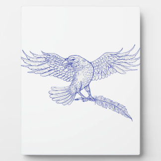 Raven Carrying Quill Drawing Plaque