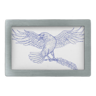 Raven Carrying Quill Drawing Rectangular Belt Buckle