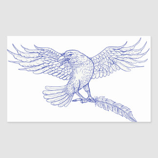 Raven Carrying Quill Drawing Rectangular Sticker