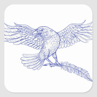 Raven Carrying Quill Drawing Square Sticker