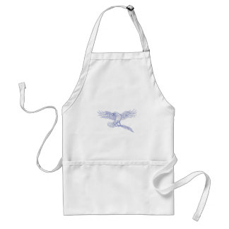 Raven Carrying Quill Drawing Standard Apron
