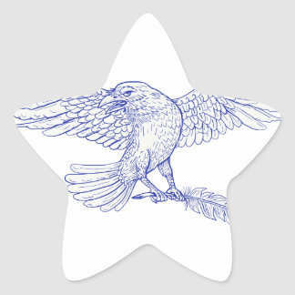 Raven Carrying Quill Drawing Star Sticker