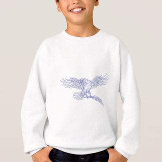Raven Carrying Quill Drawing Sweatshirt