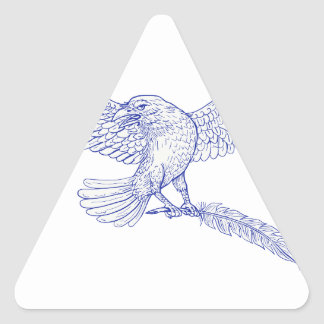 Raven Carrying Quill Drawing Triangle Sticker