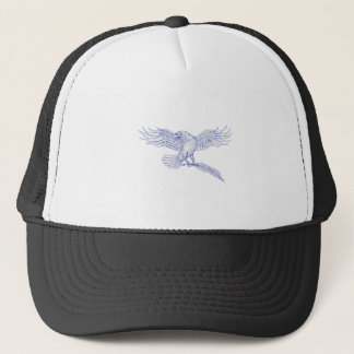 Raven Carrying Quill Drawing Trucker Hat