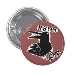 raven cartoon style illustration 3 cm round badge
