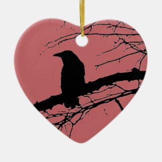 Raven Cracked Heart Ceramic Heart Decoration