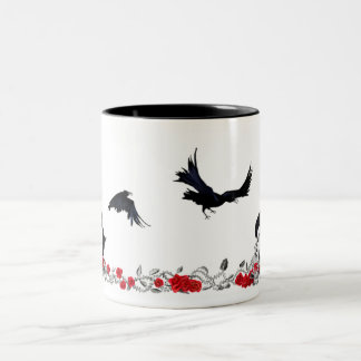 Raven, Cross, Skull and Roses mug