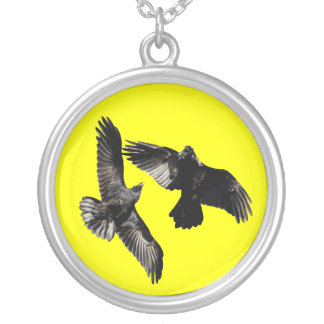 raven dance silver plated necklace
