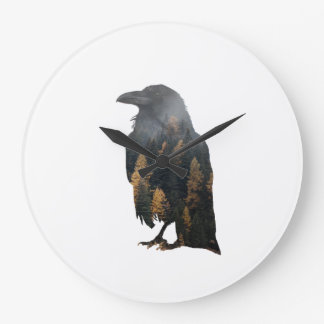 Raven Double Exposure Large Clock
