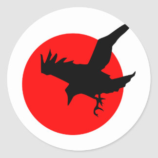 Raven full blood red moon Happy Halloween Classic Round Sticker