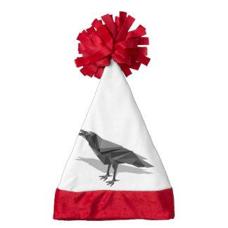 Raven Geometric Cubist Black and White Triangles Santa Hat