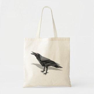 Raven Geometric Cubist Grey Triangles Budget Tote Bag