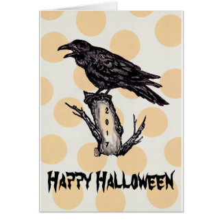 Raven Halloween Card Yellow Moon Personalize, Date