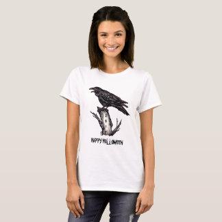 Raven Halloween T Shirt Black & White Personalize