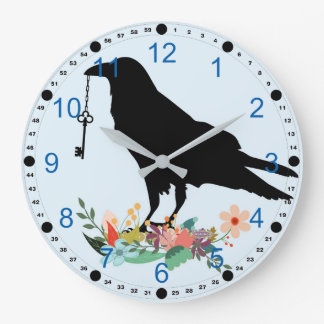 Raven Holding Key and Standing On Flowers Large Clock