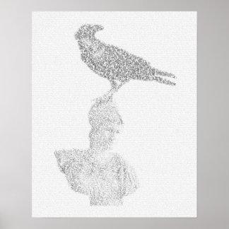 Raven illustration made of 'The Raven' poem text Poster
