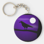 raven_illustration_Vector_Clipart black purple Basic Round Button Key Ring