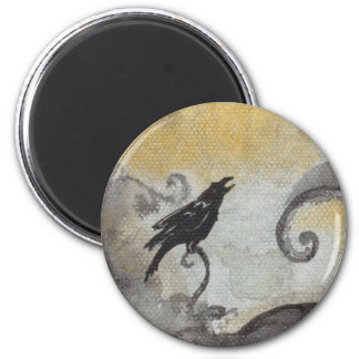 Raven in Orange Swirls Magnet
