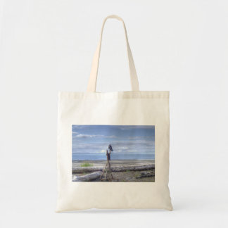 Raven looking out to sea cloth shopping bag.