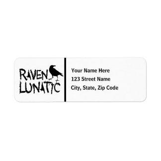 Raven Lunatic Black Crow Return Address Label
